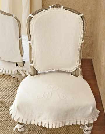 How to cover up a not so good looking upholstery on a very nice French dining chair. You can do a simple tie for each leg, the excess wrapping is not necessary to keep it in place. Just a personal preference shown here in Lauren Ross' own home.