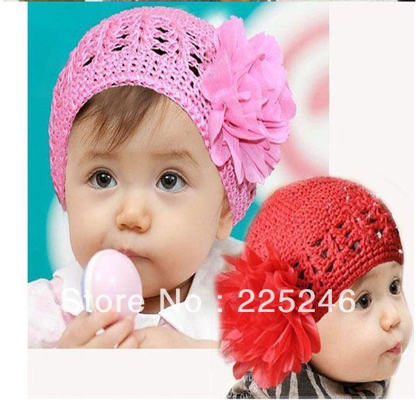Малыши девушки детские 1 шт. цветами ручной работы полые Hat вязание вязаная шапка 1 - 2 лет XL141