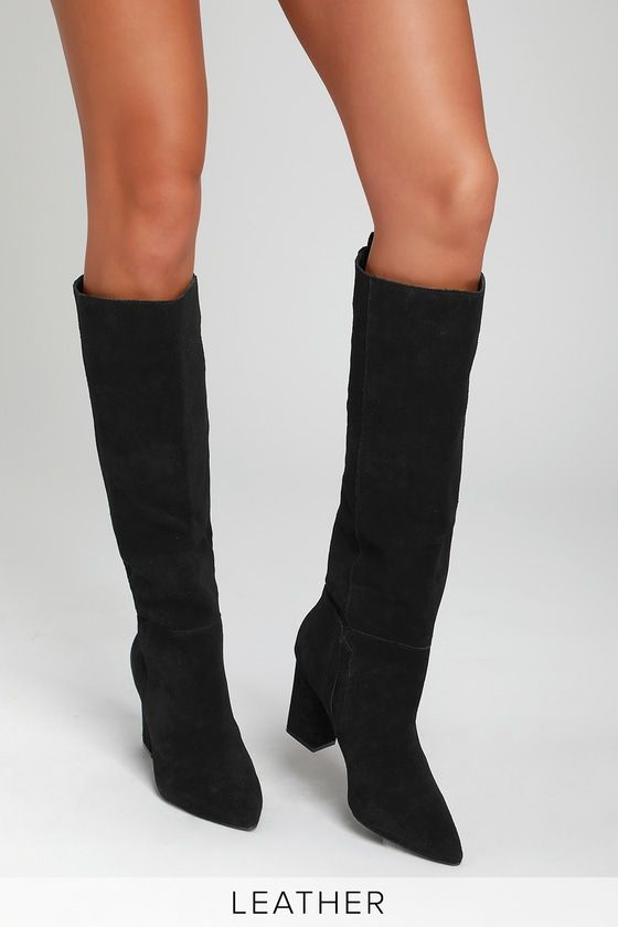 83d8d39a6ee Raddle Black Suede Leather Knee-High Boots | Things to wear! | Boots ...