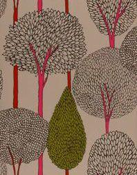 """Guldfärgad med brun glittriga träd med inslag av cerise och grönt""""Silhouette"""""""