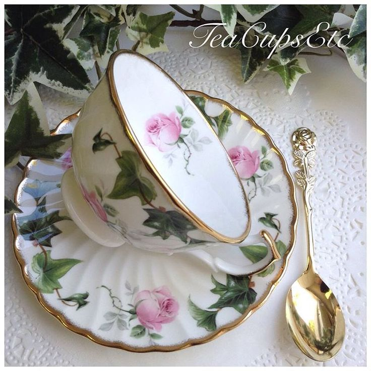 """Giveaway Time! Enter to win the Ivy Rose Cup & Saucer incl. the Rose Teaspoon pictured. You must complete the 3 first steps in order to be entered 1.…"""