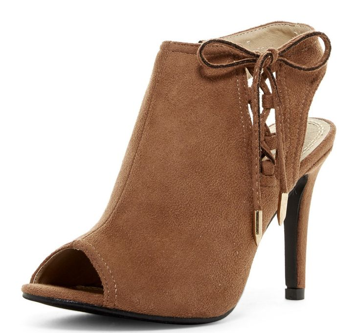 IRMA8 MOCCA OPEN TOE EXPOSED HEEL SIDE LACE UP HEEL - Wholesale Fashion Shoes - 1