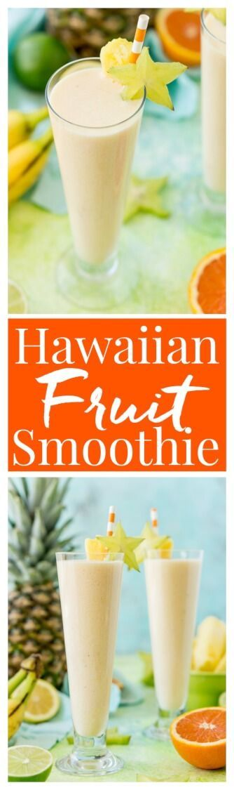 Hawaiian Sunshine Fruit Smoothie is a delicious way to get in some vitamin C, protein, dietary fiber, and potassium for breakfast or as an afternoon snack! It's loaded with orange juice, lime juice, lemon juice, banana, pineapple, and coconut extract for an extra fruity tropical flavor! via @sugarandsoulco