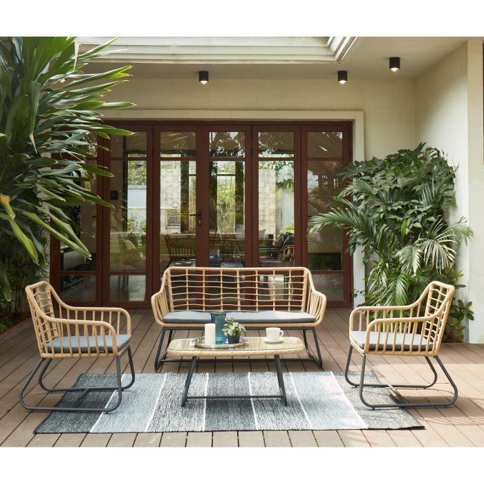 CAP Salon de jardin 4 places - 2 fauteuils, banquette et ...