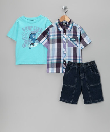 Take a look at this Blue 'Surf Life' Shorts Set - Infant & Toddler by Boys Rock on #zulily today!