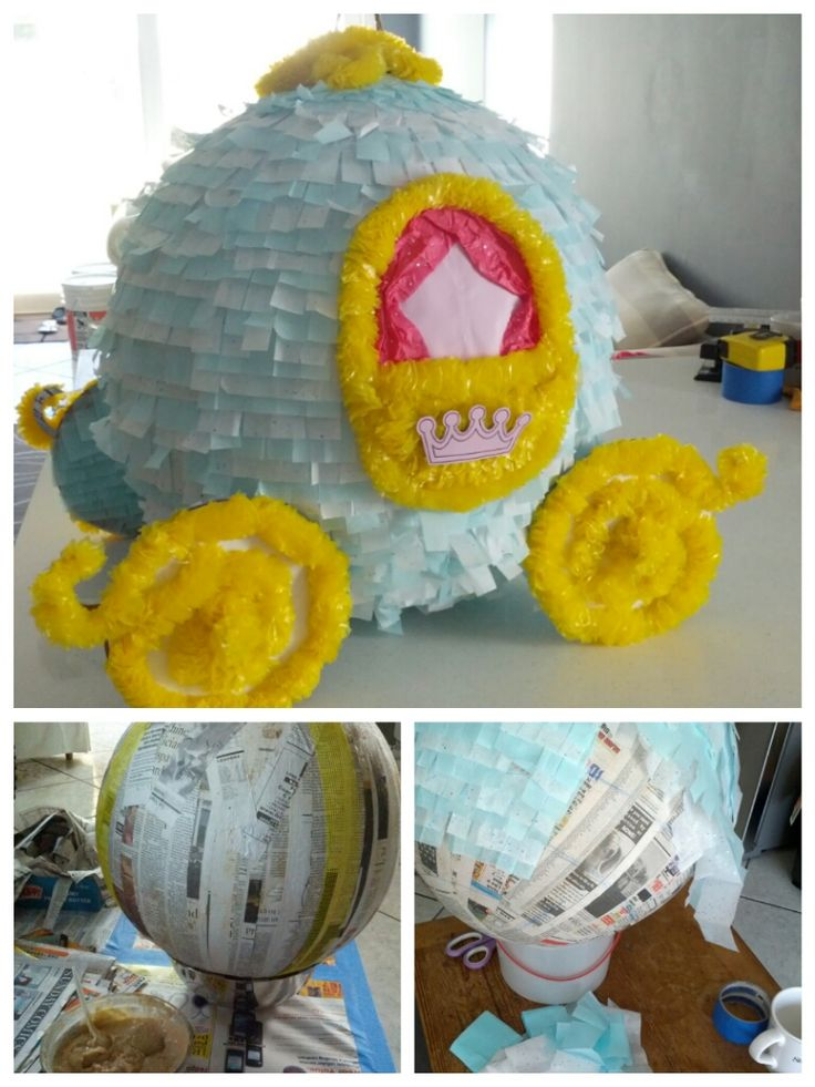 """Princess Carriage Pinata I spent over 2 full days constructing this 16""""-dia pinata for the nieces' princess themed birthday party. It held up really well, and everyone loved it!"""