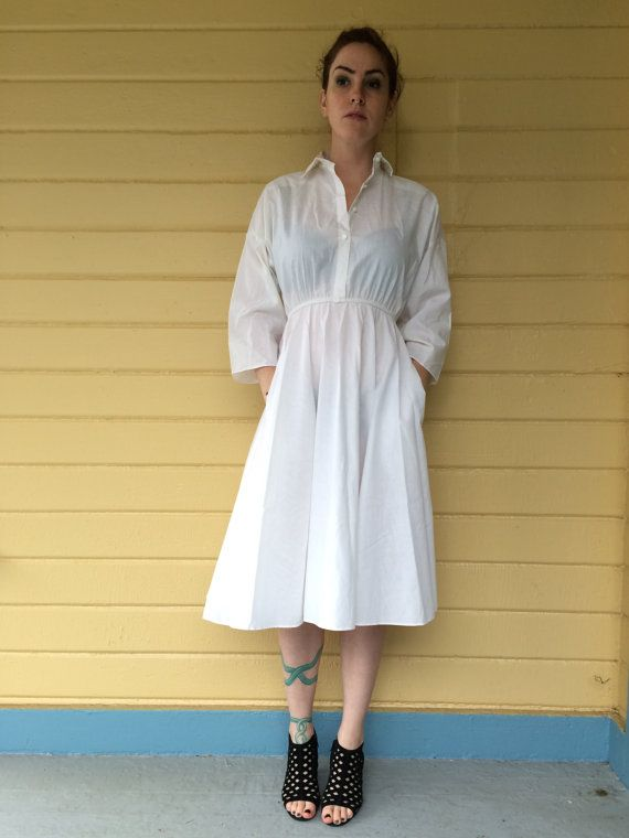 m70s white nurse dress by BABEScollective on Etsy