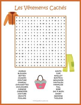 French Clothing Vocabulary Word Search Puzzle:A word search puzzle featuring 26 vocabulary words for French clothing items. Puzzlers must look in all directions including diagonally and backwards to find the hidden words. This would make a great handout for early finishers or as a fun thing to take home.