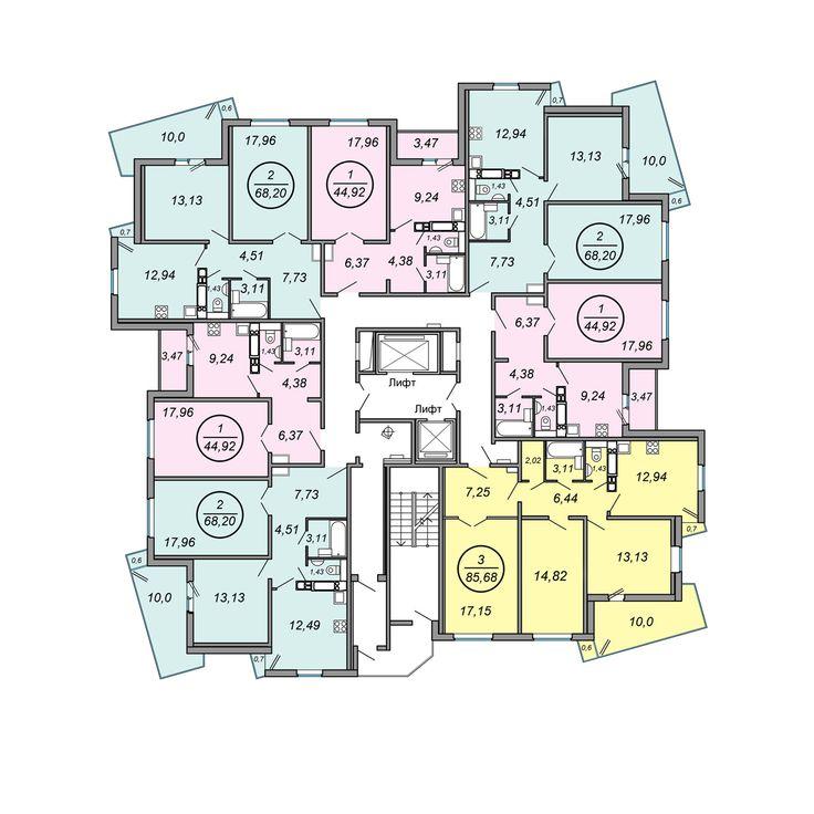 "ЖК ""Клевер-парк"" , Минск план 9-19 этажей"