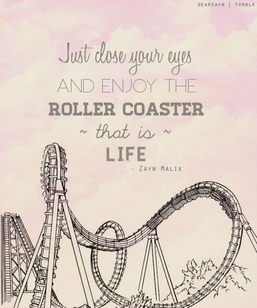 Life is a rollercoaster, there's nothing you can do to stop that, you just have to take the ups with the downs and know that when things get bumpy good things are just around the corner because just when you think things can't get any worse life has a way of letting something great happen to you.