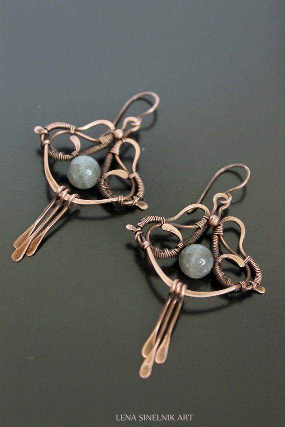 Wire wrap earrings copper earrings labradorite by LenaSinelnikArt