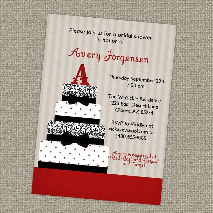 Cake wedding or bridal shower invitations digital
