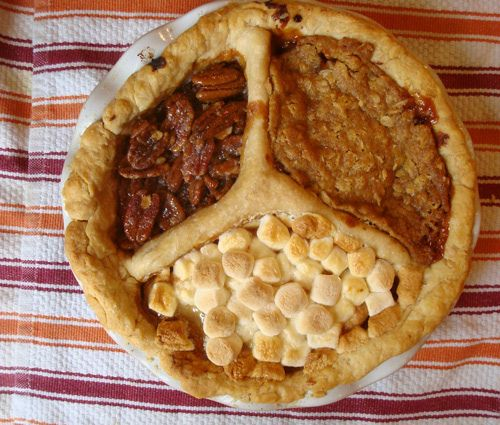 Apple, Pumpkin and Pecan Thanksgiving pie. Try a peace