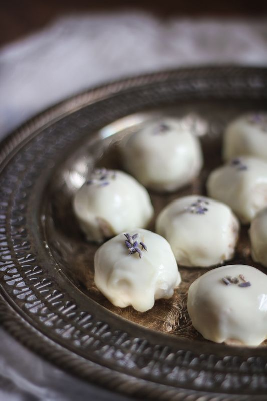Lavender White Chocolate Almond Truffles. Made with white chocolate chips, cream, almonds, lavender, vanilla, and milk.