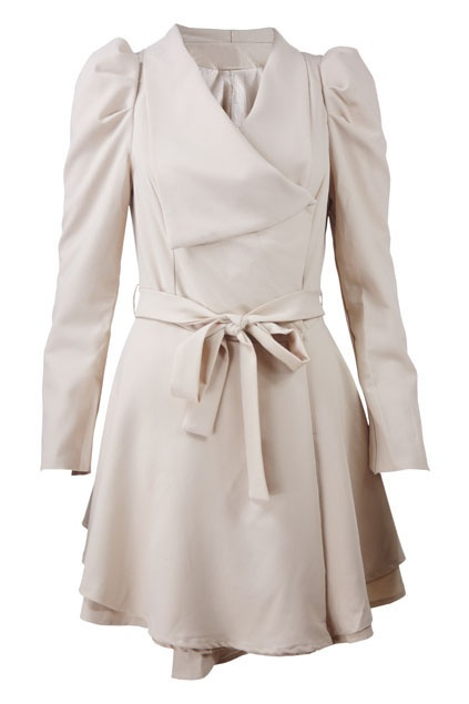 Asymmetric Double-layers Lacing Cream Trench Coat