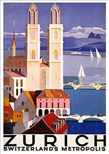 'Zurich - Switzerland' - A4 Glossy Art Print Taken From A Rare Vintage Travel Poster by Vintage Travel Posters http://www.amazon.co.uk/dp/B01BHQI4DA/ref=cm_sw_r_pi_dp_lPgTwb0FHE4WY