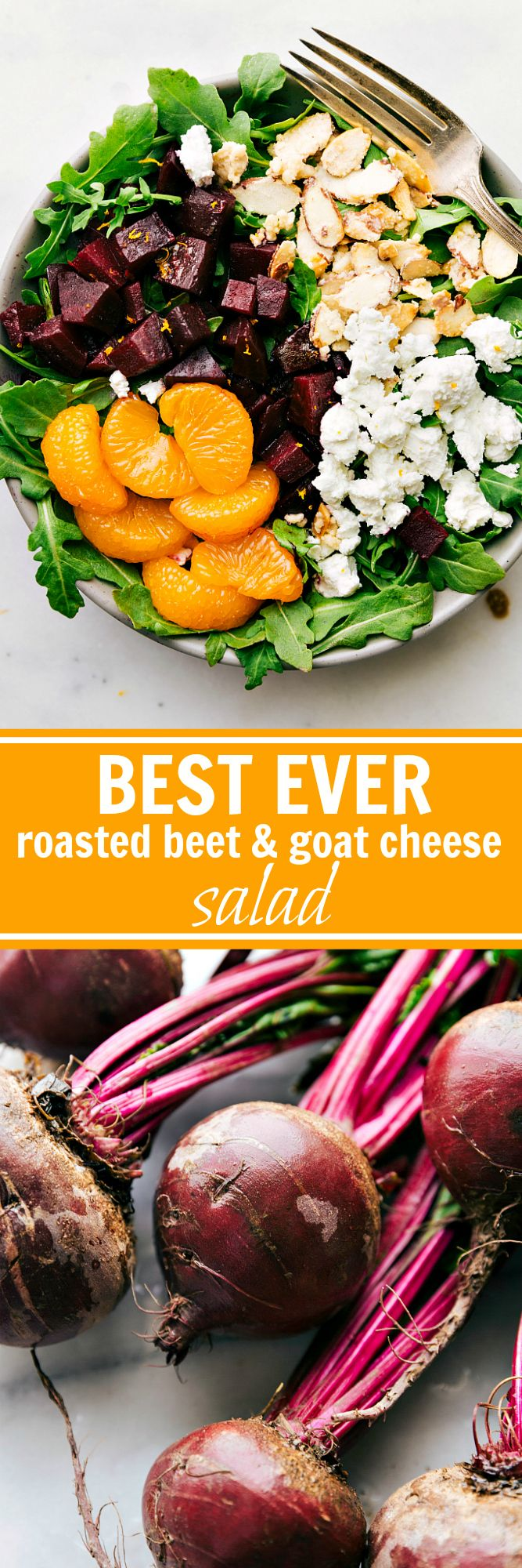 The BEST roasted beets ever!! Salt roasted beets coated in balsamic vinaigrette and tossed with arugula, easy (2-ingredients) candied almonds, mandarin oranges, and goat cheese. I Delicious roasted beet and goat cheese salad! via chelseasmessyapron.com