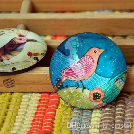 painting messages on glass | Dia 3.7cm Hot Sale Color Bird Painting Glass Top Fridge Magnet Cute ...