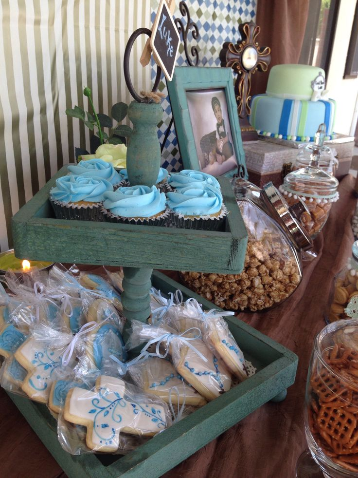 Baptism boy baptism boy party decorations christening for Baby boy baptism decoration ideas
