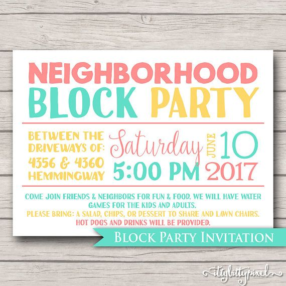 Neighborhood Block Party Invitation  Announcement Invite Card