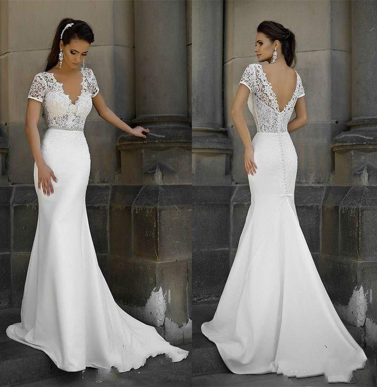 Short Sleeves Lace Bodice Wedding Dress Slim Spring Bridal Dress Gown