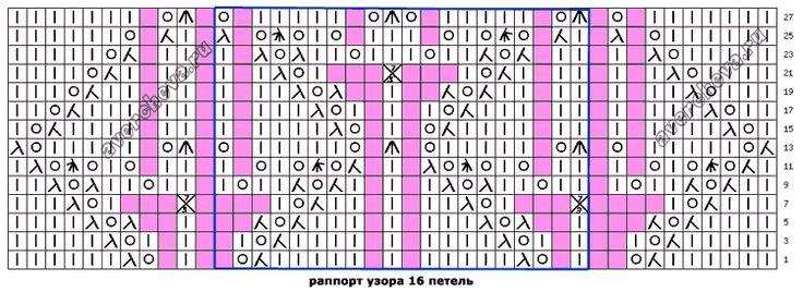 Узор 658 «трилистник в ромбах»| каталог вязаных спицами узоров
