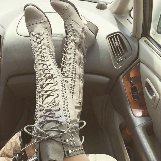 Thigh High Studded Combat Boots