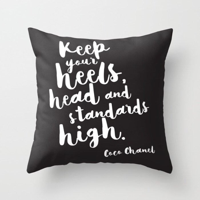 Fashion Quote Pillow, Coco Chanel Cushion cover, Cool quote pillow case, Teen gift, quote cushion, Black Decorative, Dorm Gift Decor by hangAprint on Etsy https://www.etsy.com/listing/291221793/fashion-quote-pillow-coco-chanel-cushion