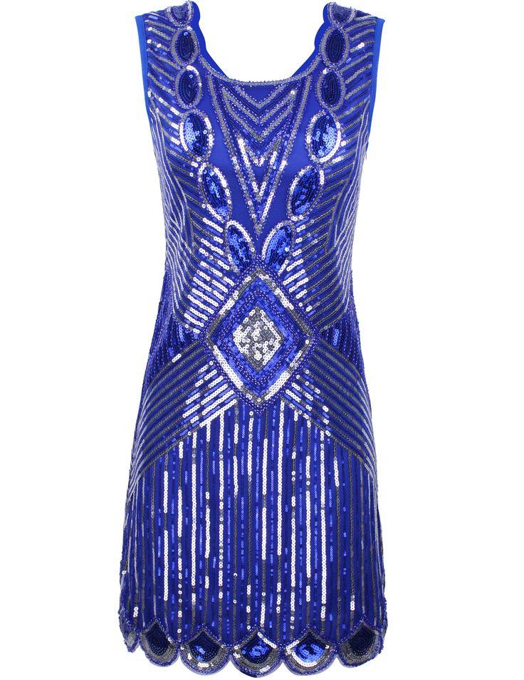 Women 1920s Gatsby Sequin Art Deco Scalloped Hem Inspired Flapper ...