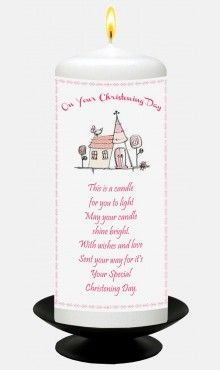 Pink Church Christening Candle