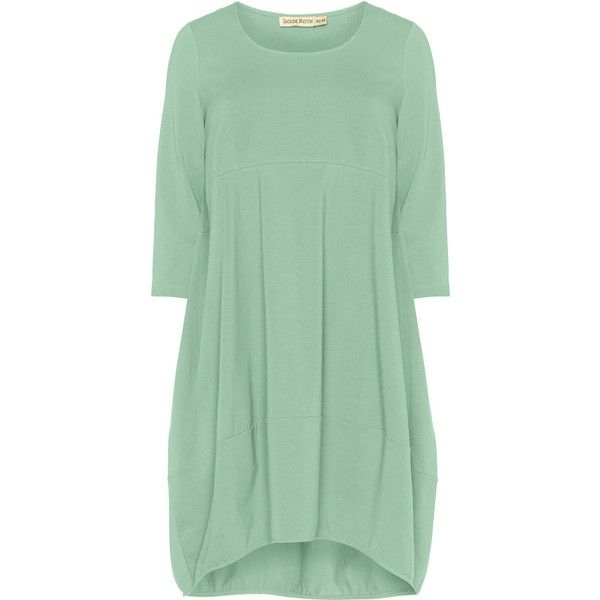 Isolde Roth Mint Plus Size Jersey balloon dress ($145) ❤ liked on Polyvore featuring dresses, mint, plus size, stretch dress, womens plus dresses, knee-length dresses, green jersey and plus size day dresses