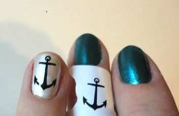 Anchor Nail Art - Transferring images on your nails using printer ink
