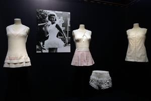 Tennis Dresses designed by British designer Ted Tinling are displayed during an exhibition Game, Set, and Fashion at the Tennis museum of the Roland Garros Stadium, in Paris, France, Friday May 15, 2015. The exhibition has more than 60 pieces of clothing on display, some of them had never been...