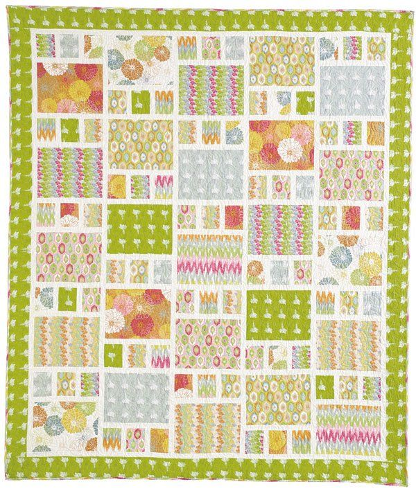 "Downloadable PDF PATTERN The perfect quilt for showing off large prints. Throw-size (77"" x 90"") Fabric Requirements: 13 Fat Quarters 1..."