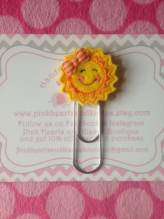 Sunshine Feltie Bookmark  Sun Felt Paper by PinkHeartsandKisses