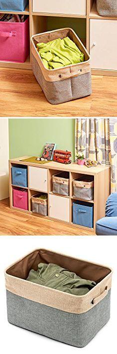Basket Storage Bins. Collapsible Storage Bin Basket [3-Pack] EZOWare Foldable Canvas Fabric Tweed Storage Cube Bin Set With Handles - Brown / Gray For Home Office Closet.  #basket #storage #bins #basketstorage #storagebins