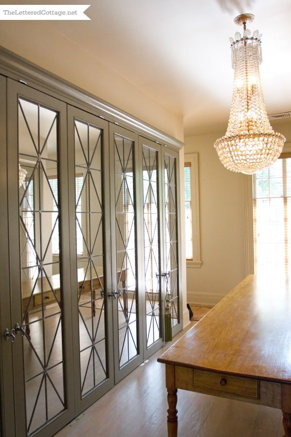 Love this in a closet or even a dining room.  Greg Tankersley at Home mirrored doors