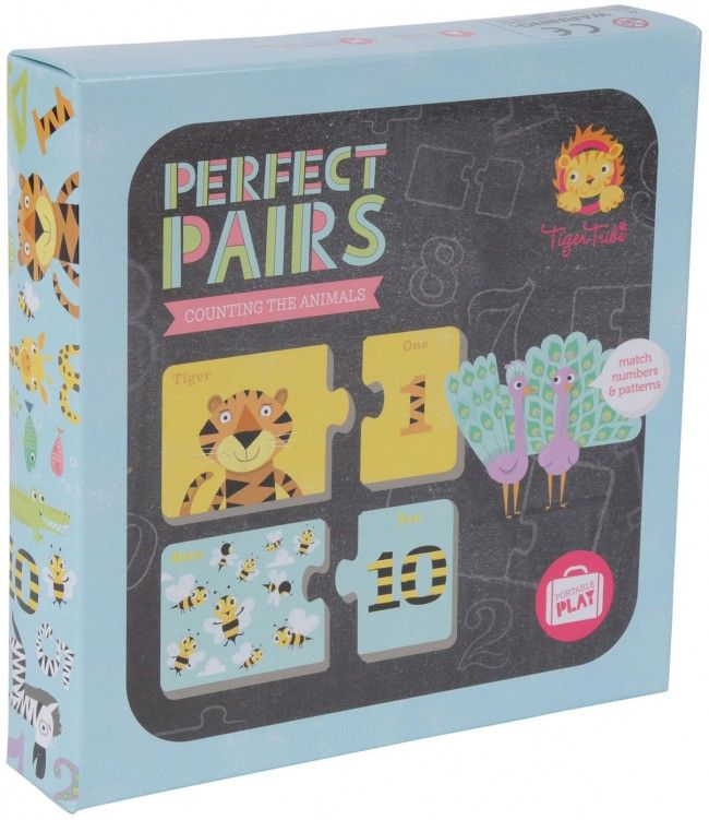 The beautiful puzzle for beginners to do, the Tiger Tribe Perfect Pairs Counting Animals  is educational and lots of fun.  With this puzzle, little ones match the cute animal with the corresponding patterned number.