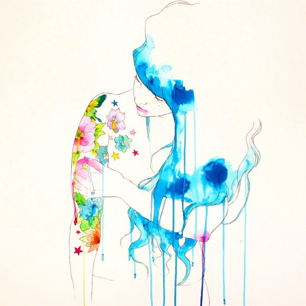 conrad roset. Love the sketch and water color mix.