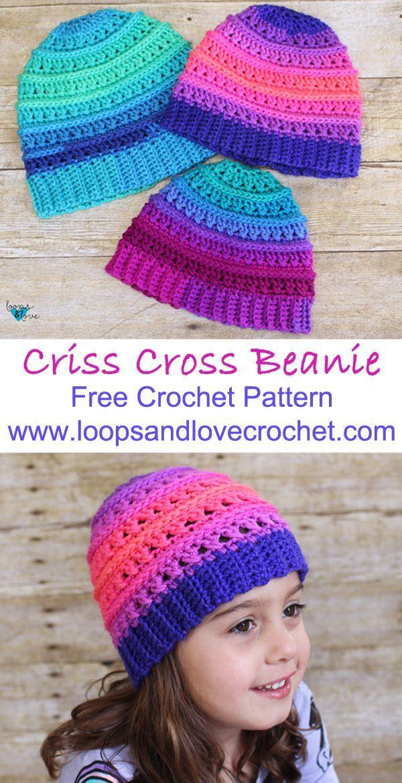 Criss Cross Beanie Crochet Crochet Crochet Hats Crochet Beanie