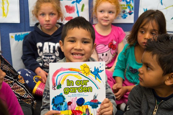 Albury Libraries' Write Around the Murray Festival: Launch of In our Garden, a picture written and illustrated by the local Koori Kindermanna Preschool in collaboration with a writer and Kids Own Publishing.