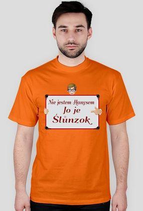 """Kocham Śląsk: Koszulka męska z aplikacją """"Nie jestem Hanysem Jo je Ślůnzok"""""""