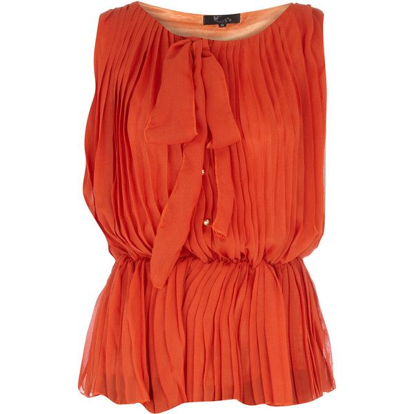 Orange pleated bow top ($31) ❤ liked on Polyvore featuring tops, blouses, shirts, blusas, bow top, bow blouse, pleated shirt, red blouse y pleated blouse