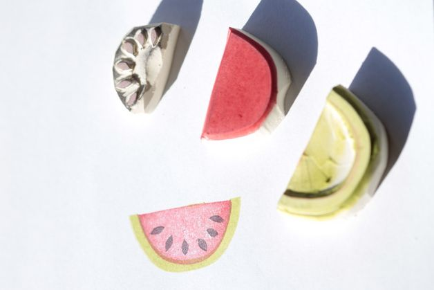 Früchte - Melonen Set , Stempel, handgeschnitzt - ein Designerstück von Aure-und-En bei DaWanda