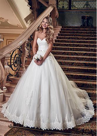 Rabatt Elegante Spitze und Tulle-Schatz-Ausschnitt A-Linie Brautkleid mit Spitze Appliques bei Dressilyme.com bekommen