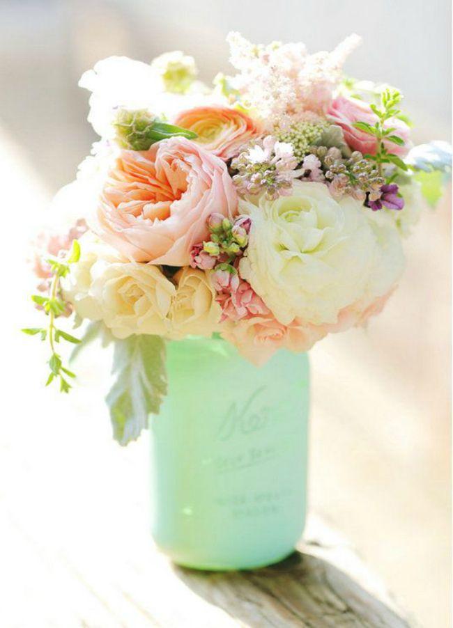 Mason Jar Ideas - I don't like the green wrap around the jar, but love the flowers.