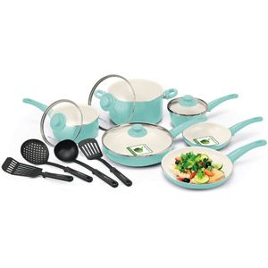 GreenLife Healthy Ceramic Non-Stick Soft Grip 14-Piece Cookware Set, Turquoise
