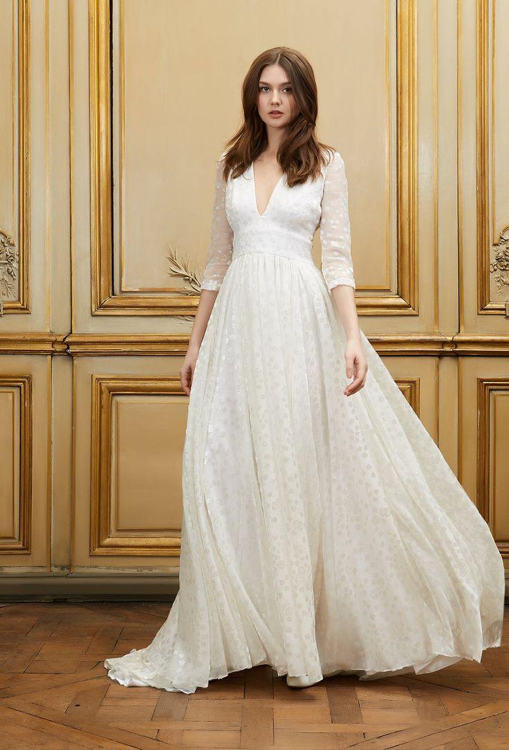 Delphine Manivet - Wedding dress designer Paris : Ozgur White. Long dress with deep V neck and 3/4 sleeves in jacquard velvet