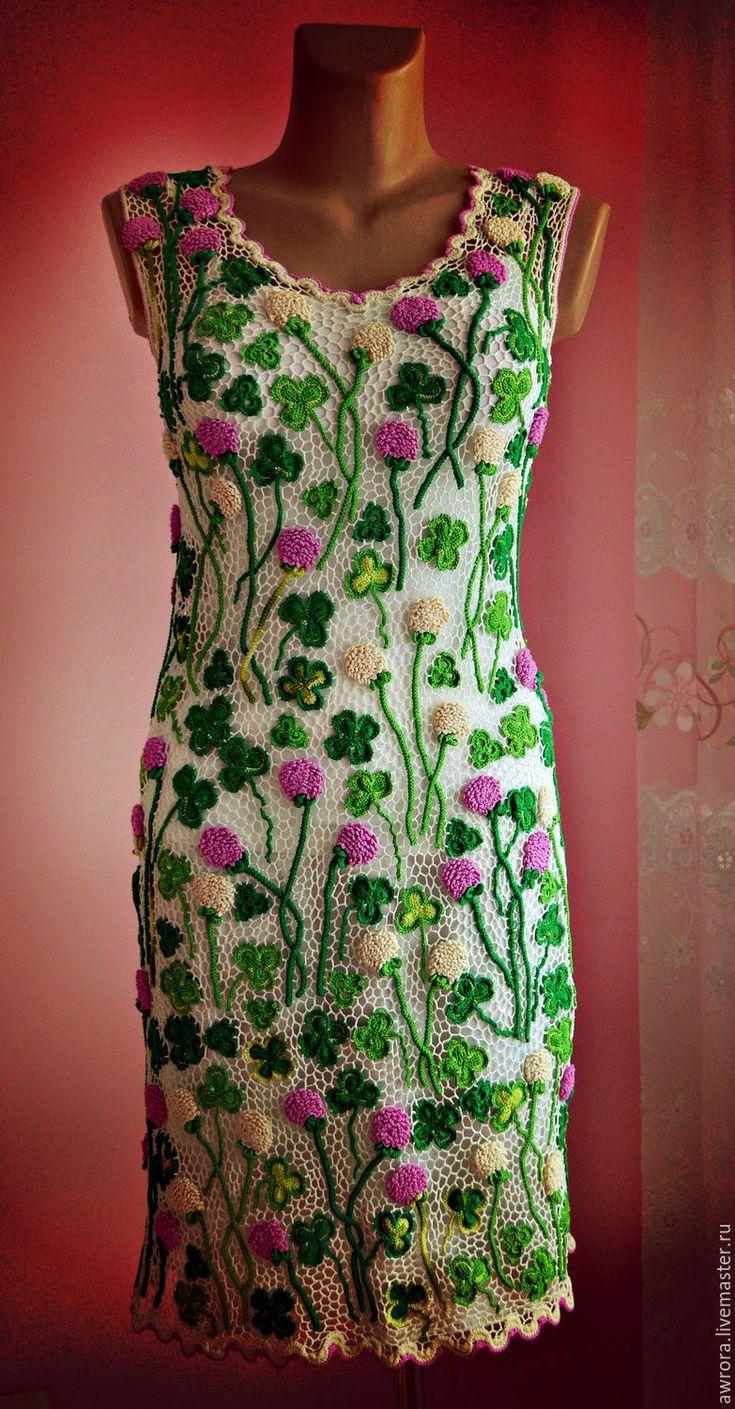 """Купить Платье """"Клевер"""" - разноцветный, цветочный, ирландское кружево, вязание на заказ, Вязание крючком"""