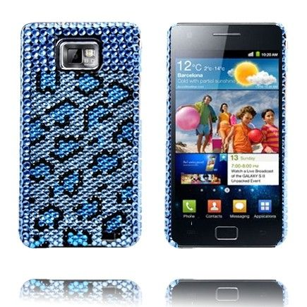 Paris Star (Sininen Leopardi) Samsung Galaxy S2 BlingBling Suojakuori
